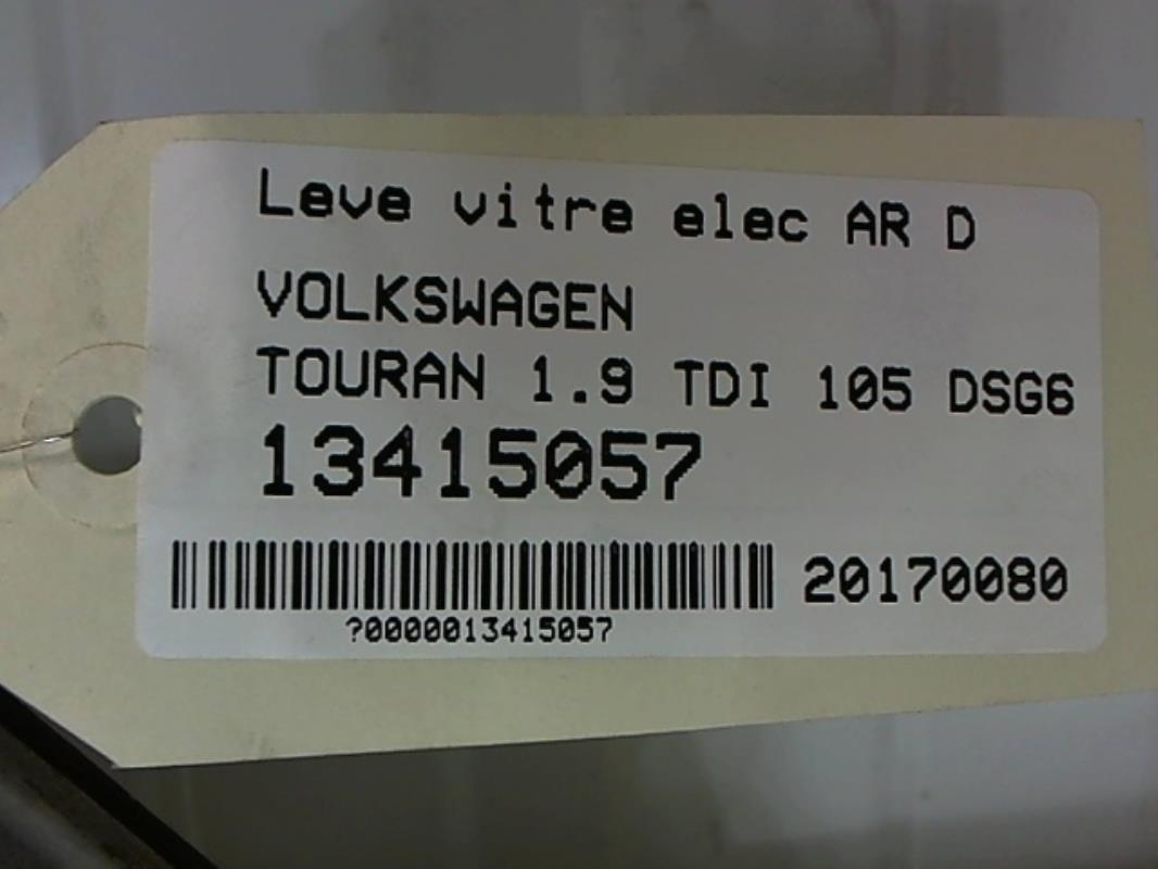 leve vitre electrique arriere droit volkswagen touran 1 9 tdi 105 dsg6 diesel. Black Bedroom Furniture Sets. Home Design Ideas