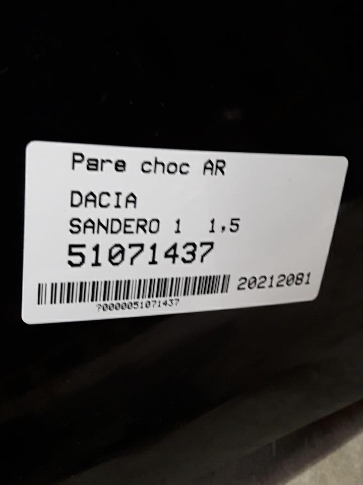Image Pare choc arriere - DACIA SANDERO 1